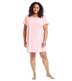 Intimate Essentials® Plus Size Pink Dot V-Neck Sleepshirt