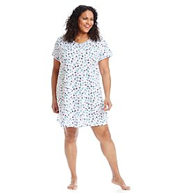 Intimate Essentials® Plus Size Blue Butterfly V-Neck Sleepshirt