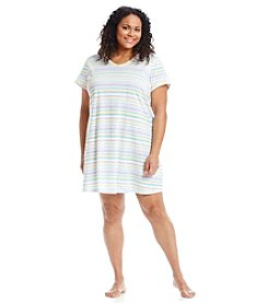 Intimate Essentials® Plus Size Wavy Stripe V-Neck Sleepshirt