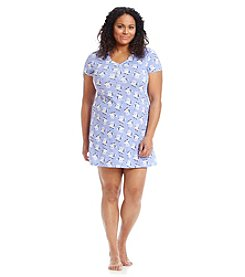 Intimate Essentials® Plus Size Blue Bouquet Henley Sleepshirt