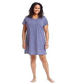 Intimate Essentials® Plus Size Navy Dot Henley Sleepshirt
