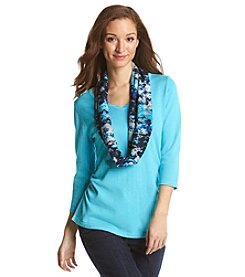 Notations® Solid V-Neck Sweater With Scarf