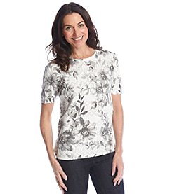 Alfred Dunner® High Tea Textured Floral Sweater