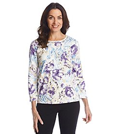 Alfred Dunner® A Fine Romance Abstract Floral Print Sweater