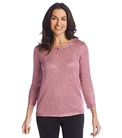 Alfred Dunner® Glacier Lake Textured Sequins Sweater