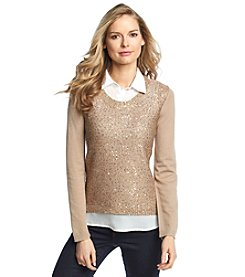 Como Black Solid Sequin Layered Look Sweater
