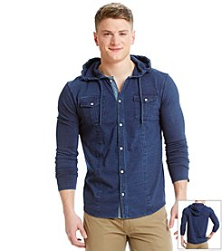 DKNY JEANS® Men's Long Sleve Hooded Jersey Button Down