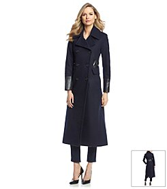 DKNY® Double Breasted Coat With Pleather Detail