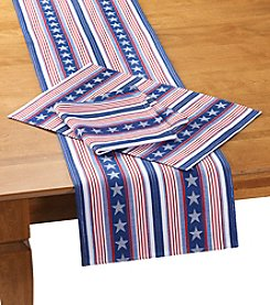 LivingQuarters Metallic Stars and Stripes Table Linens