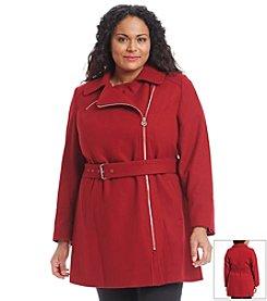 MICHAEL Michael Kors® Plus Size Asymmetric Zip Belted Walker Jacket