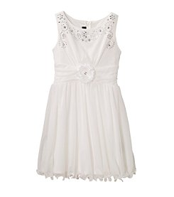 Amy Byer Girls' 7-16 Embroidered Bodice Dress With Spiral Hem