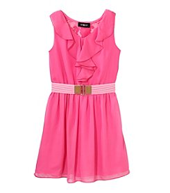 Amy Byer Girls' 7-16 Chiffon Ruffle Front With Belt Dress