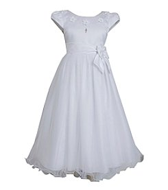 Bonnie Jean® Girls' 7-16 Cap Sleeve Satin Dress With Sash