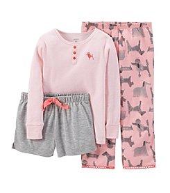 Carter's® Girls' 12M-14 3-Piece Cotton & Jersey Pajamas