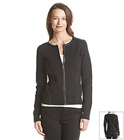 Anne Klein® Faux Leather Trim Cardigan