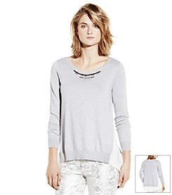 Vince Camuto® Jeweled Neck Chiffon Top