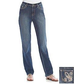 Earl Jean® Fleur De Lis Straight Leg Dark Jeans