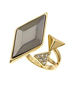 Guess Bypass Goldtone Ring with Stone