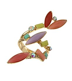 Guess Goldtone Dapped Ring with Stones