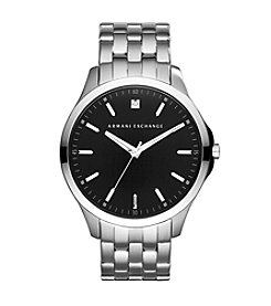 A|X Armani Exchange Men's Silvertone Watch with Black Dial