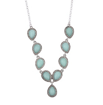 "Nine West Vintage America Collection® 16"" Adjustable Silvertone and Colored Necklace plus size,  plus size fashion plus size appare"