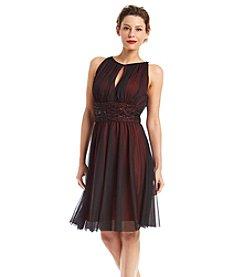 Jessica Howard® Beaded Waist Chiffon Overlay Dress