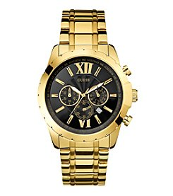 GUESS Men's Black and Goldtone Roman Numeral Chronograph Watch