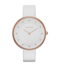 Skagen Denmark Women's Gitte Watch in Rose Goldtone with White Leather Strap