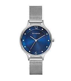 Skagen Women's Anita Watch in Silvertone with Mesh Bracelet and Dark Blue Dial