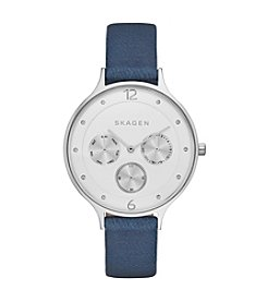 Skagen Denmark Women's Anita Multifunction Watch in Silvertone with Blue Leather Strap