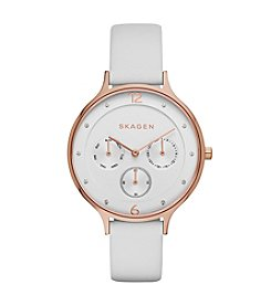 Skagen Denmark Women's Anita Multifunction Watch in Rose Goldtone with White Leather Strap