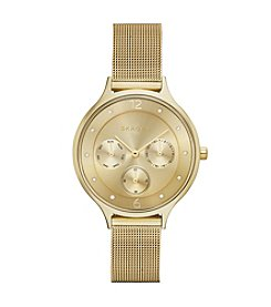 Skagen Denmark Women's Anita Multifunction Watch in Goldtone with Mesh Bracelet