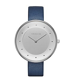 Skagen Denmark Women's Gitte Watch in Silvertone with Blue Leather Strap