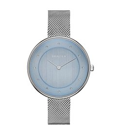 Skagen Denmark Women's Gitte Watch in Silvertone with Mesh Bracelet and Blue Dial