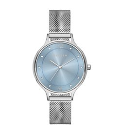 Skagen Denmark Women's Anita Watch in Silvertone with Mesh Bracelet and Blue Dial