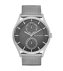 Skagen Denmark Men's Holst Watch in Silvertone with Mesh Bracelet and Grey Dial