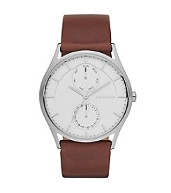 Skagen Denmark Men's Holst Watch in Silvertone with Dark Brown Leather Strap