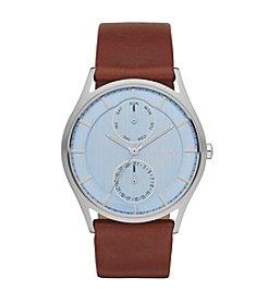 Skagen Denmark Men's Holst Watch in Silvertone with Dark Brown Leather Strap and Blue Dial