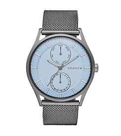 Skagen Denmark Men's Holst Watch in Smoke with Mesh Bracelet and Blue Dial