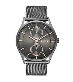 Skagen Denmark Men's Holst Watch in Smoke with Mesh Bracelet and Gunmetal Gray Dial