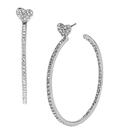 Betsey Johnson® Medium Crystal Heart Silvertone Hoop Earrings