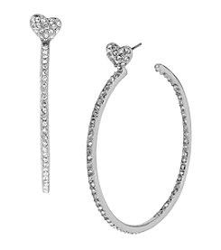 Betsey Johnson® Medium Crystal Heart Silvertone Hoop Earrings