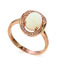 Effy® Opal and 0.08 ct. t.w. Diamond Ring in 14K Rose Gold