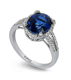 Effy® Manufactured Diffused Sapphire and 0.24 ct. t.w. Diamond Ring in 14K White Gold