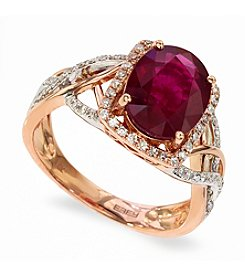 Effy® Lead Glass Filled Ruby and 0.25 ct. t.w. Diamond Ring in 14K White and Rose Gold