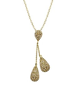 Golden Crystal Double Teardrop Necklace in Gold-Plated Sterling Silver