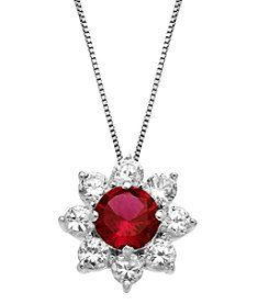 Laboratory-Created Ruby and Laboratory-Created White Sapphire Pendant Necklace in Sterling Silver