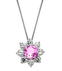 Laboratory-Created Pink Sapphire and Laboratory-Created White Sapphire Pendant Necklace in Sterling Silver