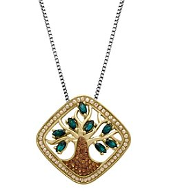 Impressions® Crystal Tree of Life Pendant Necklace in Gold-Plated Sterling Silver