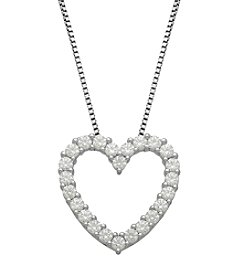 Cubic Zirconia Open Heart Pendant Necklace